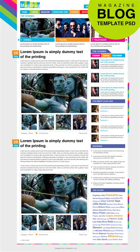 blog layout template psd premium magazine blog template psd for free download