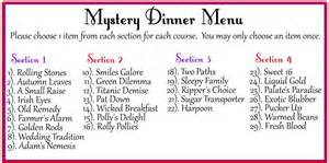 dinner menu ideas mystery dinner hats