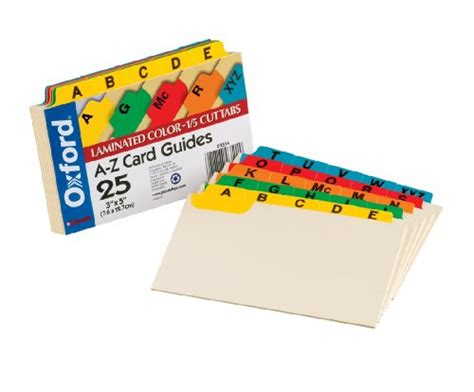 Oxford Index Card Tab Template 1 5 by Oxford Laminated Index Card Guides Alpha 1 5 Tab Manila