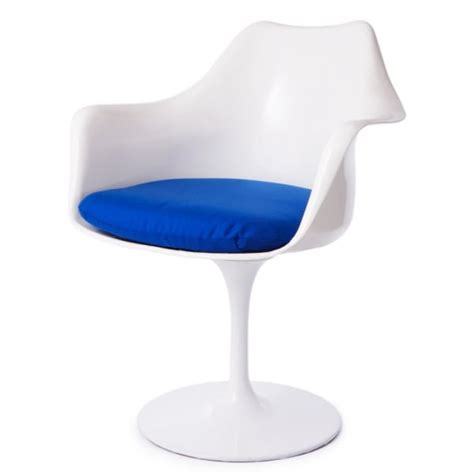 buy white and blue tulip style armchair from fusion living