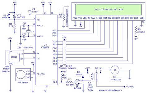 circuit diagram of alarm using 8051 microcontroller