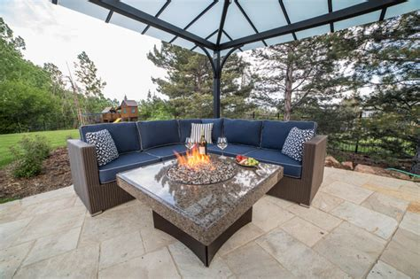 Gas Fire Table With Outdoor Furniture Modern Patio Outdoor Patio Furniture Denver