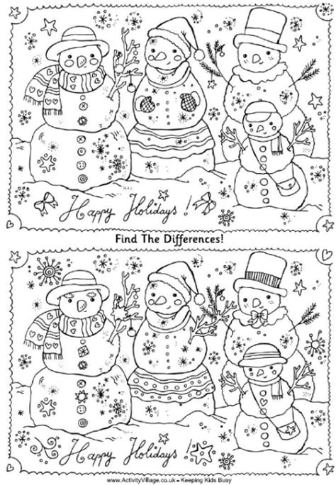 printable christmas find the difference games find the differences puzzle christmas snowmen