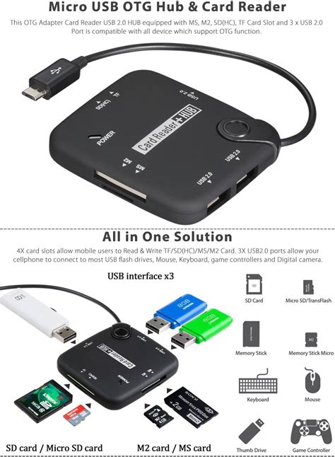 Usb Otg Card Reader Usb On The Go Transfer Data micro usb host adapter connection otg cable card reader