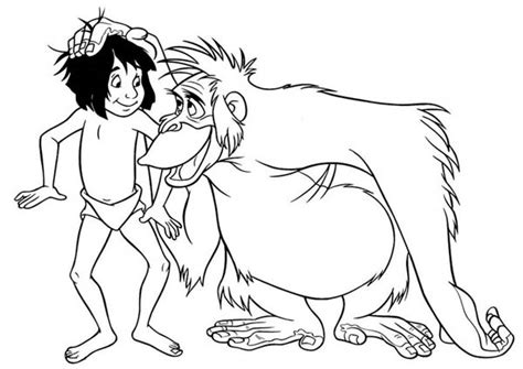 jungle book coloring pages king louie king louie rub mowgli head in jungle book coloring pages