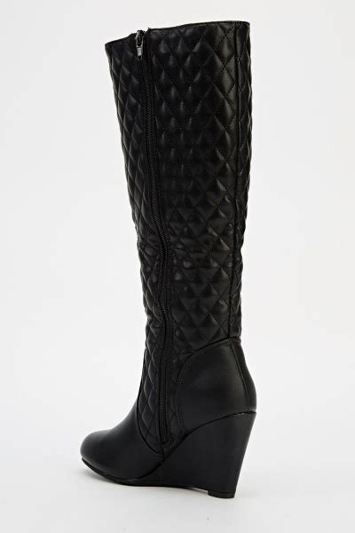 quilted knee high wedge boots just 163 5