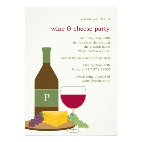 wine and cheese party invitations 5 quot x 7 quot invitation card