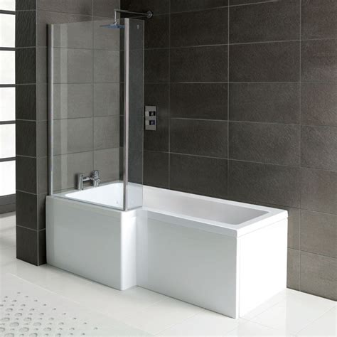 l shaped bath shower screen l shaped shower bath 1700 x 850 mm with screen and panel