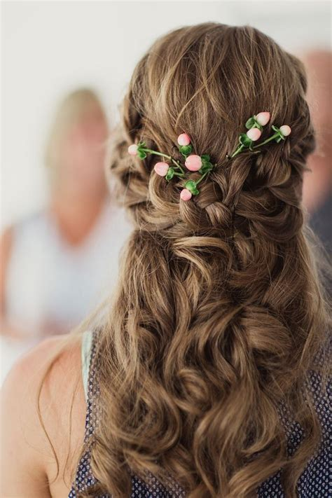 Wedding Hairstyles For Curly Hair Half Up Half by Half Up Half Wavy Wedding Hairstyle With Hair