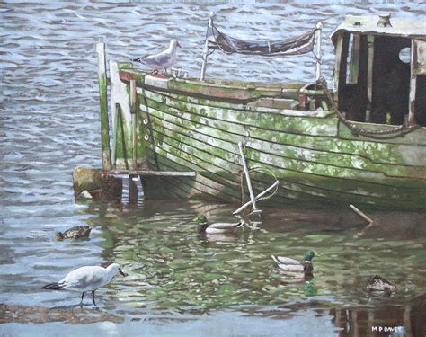 Acrylic Painting Textures - boat wreck with sea birds painting by martin davey