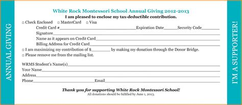 Printable Printable Blank Pledge Card Template Donation Pledge Card Template