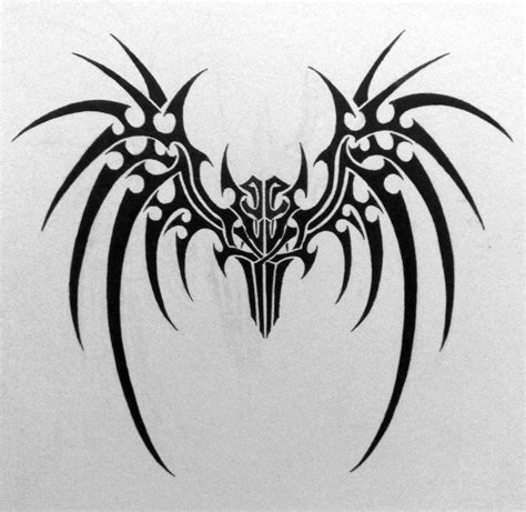 tribal demon tattoo closed wings by grimshady on deviantart