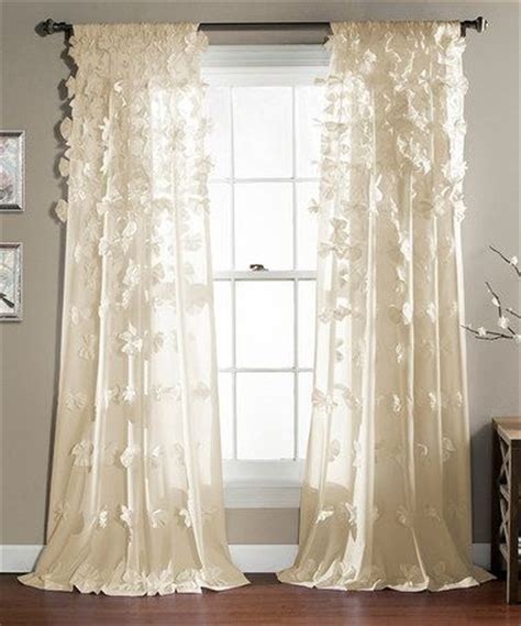 Flowing Shabby Chic curtain panels ivory and window curtains on