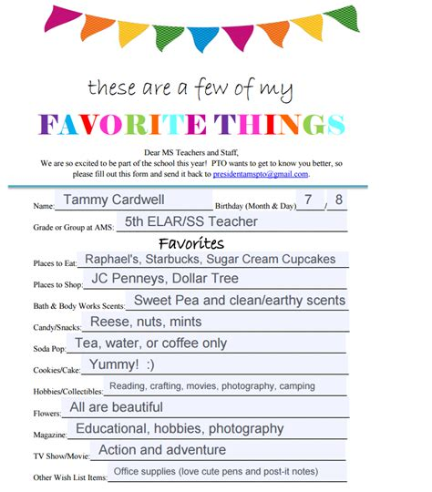 favorite things list template cardwell tammy 5th elar meet the
