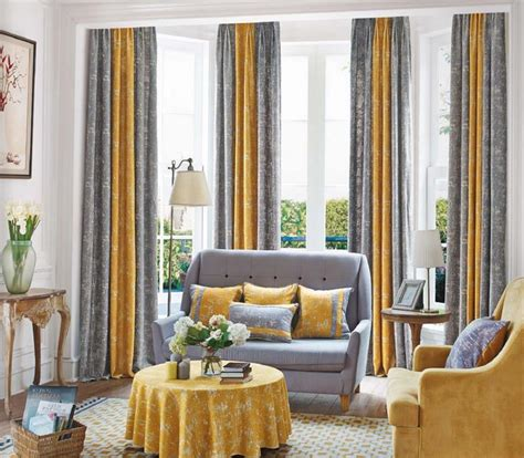 Mustard Yellow and Gray Patterned Modern Long Room Divider