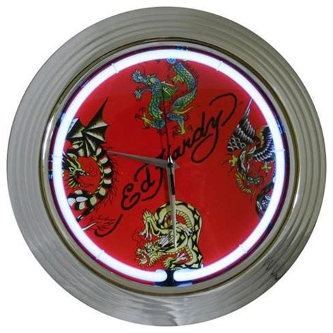ed hardy home decor ed hardy dragons tattoo neon wall clock fish