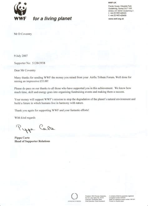 wwf charity letter atf charity fundraising 2007 8 thank you letters the