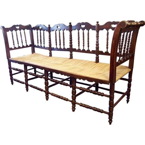 spindle back bench antique french rush seated bench with spindle back for
