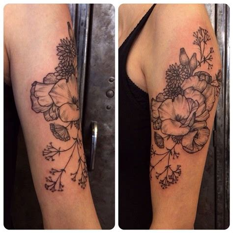 bali tattoo poppies 2 california poppies daffodils queen anne s lace and baby