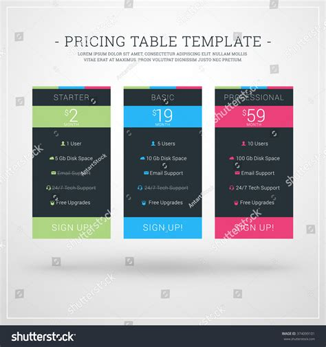 pricing tables template in flat design vector premium download vector design template pricing table websites stock vector