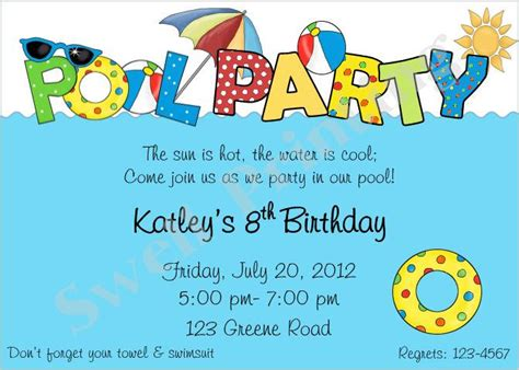 swimming invitation template pool invitation pool birthday invitation swimming