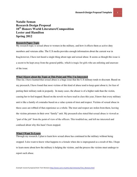 design research proposal template research design proposal