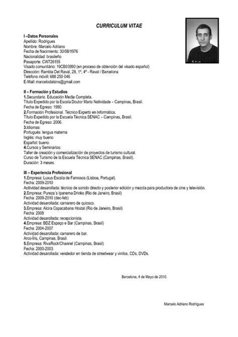 Modelo Completo Curriculum Vitae exemplos de curriculum vitae