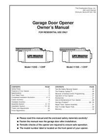 Garage Door Opener Xx150 Manual Chamberlain Garage Door Opener 1160 User S Guide