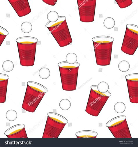 pattern drinking games beer pong vector pattern red plastic stock vector