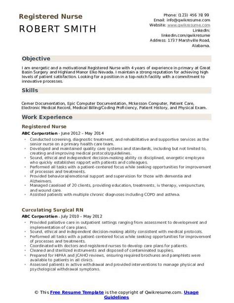 Registered Nurse Resume Samples Qwikresume