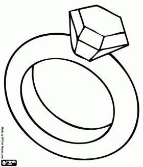 Pin Coloring Page Diamond Ring Jewelry Ginormasource Kids Ring Coloring Pages