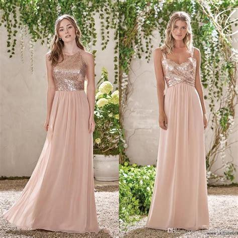 Cheap Rose Gold Sequins Top Long Chiffon Beach 2019