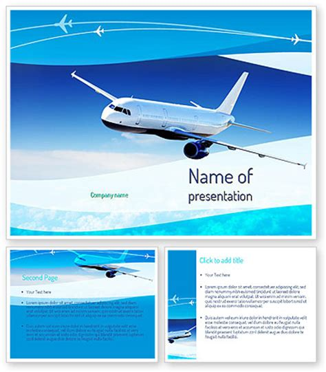 airplane in the sky powerpoint template poweredtemplate