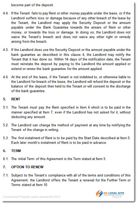 Lease Renewal Letter Qld Commercial Property Lease Agreement Template
