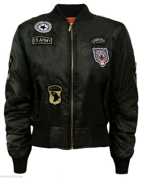 Bomber Pacht Army Ml womens classic army style patch bomber jacket zip up biker vintage jacket ebay