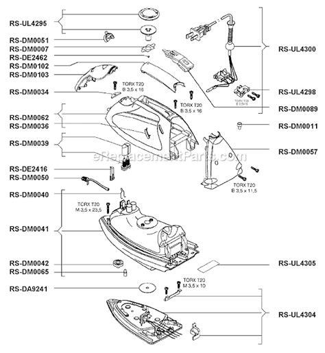 rowenta iron parts diagram rowenta dm560 parts list and diagram ereplacementparts