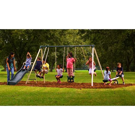 backyard metal swing sets purchase the flexible flyer backyard swingin fun metal swing set at an always low price from