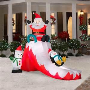 Christmas santa penguin snowman slide airblown lit yard inflatable