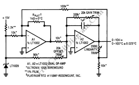 thermocouple swing resistor linearized platinum rtd signal conditioner circuit lt1009 circuit diagram world