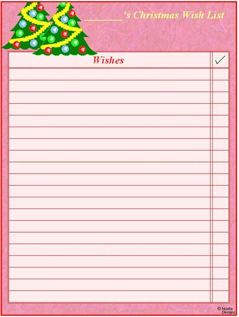 wish list template free printable free printable wish lists printables