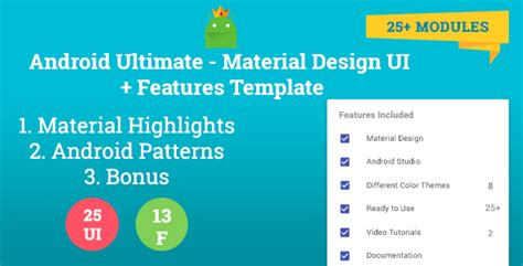 android templates for sale android ultimate material design ui features template