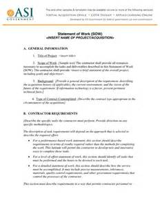 Contractor Statement Of Work Template by Statement Of Work In Word And Pdf Formats