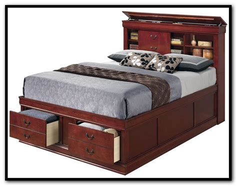 queen size storage bed plus bookcase headboard home