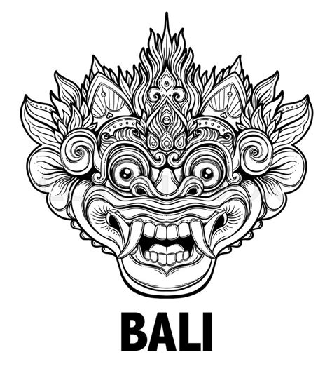 tattoo prices jakarta barong traditional ritual balinese mask vector
