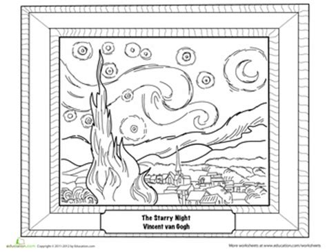 coloring pages van gogh starry starry night starry night by van gogh