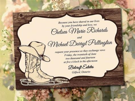 free western invitation templates printable wedding invitation template quot country western