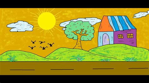 Easy Scenery Drawings For Kids Using Ms Paint Youtube Drawings To Paint For