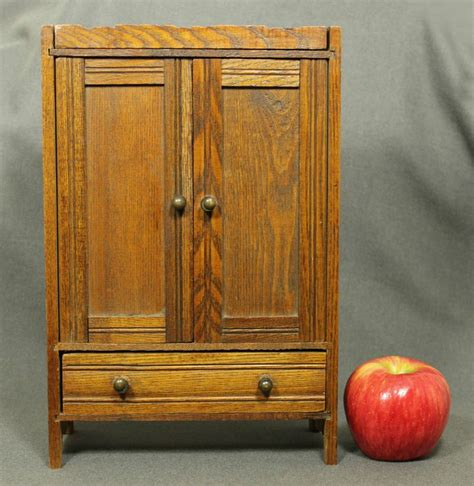 childs armoire antique miniature wood oak doll armoire cupboard primitive