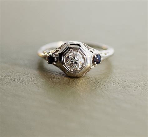 sapphire antique engagement ring by sitfinejewelry