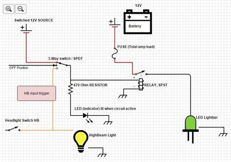 led light bar wiring diagram high beam circuit and